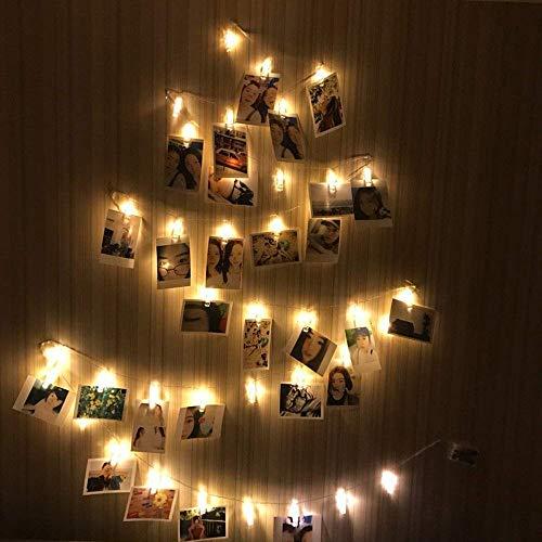 20 LED Foto Clips Zeichenfolge Beleuchtung Halter Innen Fee Mauer Lampe zum Hängend Fotos Bilder Karten Notizen Ideales Geschenk zum Dekoration Weihnachten Geburtstag Valentinstag Party 2,2 m (Foto-valentinstag-karte)