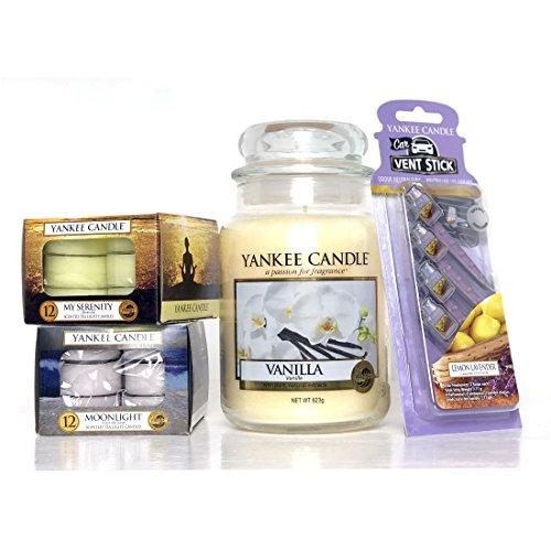 comprare on line Official Yankee Candle Vanilla barattolo grande 29pezzi Set regalo include lumino & Vent Sticks prezzo