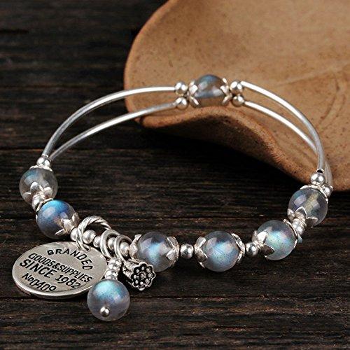 Z&HA Damen Charm Armband Labradorit Retro Mondstein Armbänder S925 Silber Anhänger Natural Grey Stretchable Crystal Schmuck Feinen Geschenk,HA0020