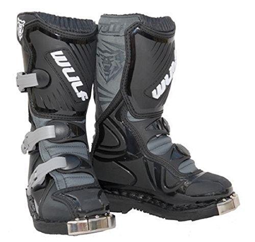 Stivali Bambini moto: WULF SPORT MX Quad Stivali da moto, Enduro bambini Stivali motocross, Stivale da corsa Kids Stivale, Nero (EU 36)