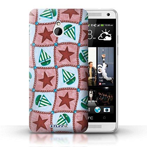 Kobalt® Imprimé Etui / Coque pour HTC One/1 Mini / Violettes/Vertes conception / Série Bateaux étoiles Rouge/Vert