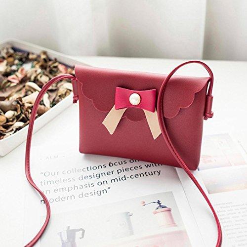 BZLine® Frauen Bowknot Umhängetasche Münze Pouch Mini Tasche Münztüte Rot