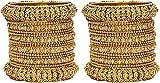 Mansiyaorange One Gram Gold Ad Stone 2 Antique Golden Brass Bangle Set For Women