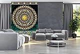 FORWALL Fototapete Tapete Golden Mandala in Smaragd P4A (254cm. x 184cm.) Photo Wallpaper Mural AMF10121P4A Gratis Wandaufkleber Mandala Indien Indisch Orient Orientalisch Gold