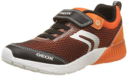 Geox Jungen J Sveth Boy B Sneaker, Orange (Black/Orange), 34 EU (Kids Orange Schuhe)