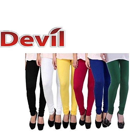 Devil Women|Girls Cotton Multi Colored Legging Pack Of 5 ( Black/White/Yellow/Red/Navy/Green )