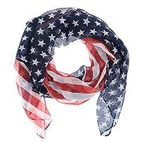Foulard Drapeau Américain Voile - Foulard Drapeau USA - Foulard Fantaisie. Taille unique. 150 cm x 80 cm. 100% Polyester. Bleu, Rouge et Blanc.