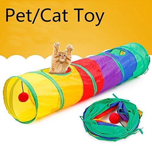 Pet Tunnel Cat Impreso verde Crinkly Kitten Tunnel Toy con pelota Jugar Fun Toy Característica: Perfecto para todas las mascotas pequeñas, incluidos: conejos, hurones, conejillos de indias y pequeños cachorros y gatitos.  A las mascotas les encantará...