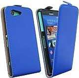 Handytasche Flip Style für Sony Xperia Z3 Compact D5803 in Blau Klapptasche Hülle @ Energmix