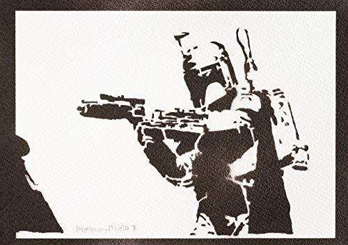 Boba Fett STAR WARS Poster Plakat Handmade Graffiti Street Art - (Comic Buch Figur Kostüm Einfach)