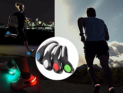 OUTERDO 1Pair LED Luminous Outdoor Sport Flashing Shoe Safety Warning Lights Clip for Night Joggers Walkers Biker