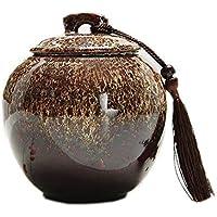 MMJ Esmalte de cremación de tamaño Mediano para Ceniza - Funeral para urnas de Cenizas humanas Adulto - Cerámica - Muestre funerarias en casa o en el nicho de la Ceniza (Color : Brown)