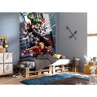 AG Design FTDxl 1916  Avengers Marvel, Papier Fototapete Kinderzimmer- 180x202 cm - 2 teile, Papier, multicolor, 0,1 x 180 x 202 cm