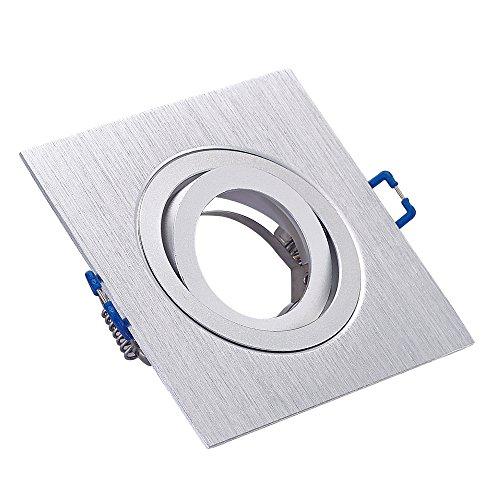 Decke Einbaurahmen (Einbaustrahler Einbauleuchte Spot Aluminium 749SL Silber MR16 GX5,3 12V LED fähig, quadratisch, Decken Einbaurahmen)