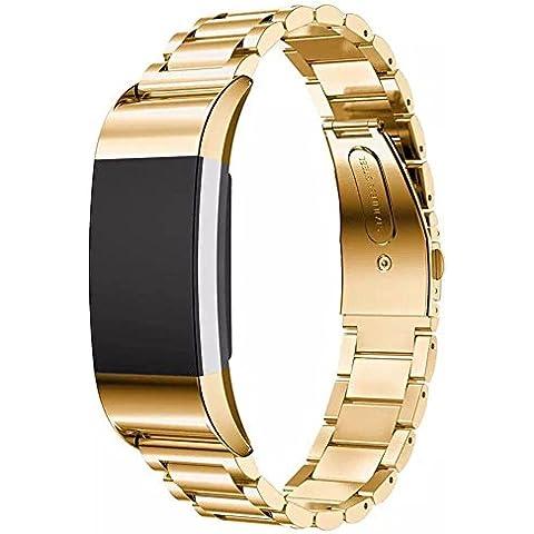 Per Fitbit Charge, 2bande Loop cinturino braccialetto in acciaio inox con unico magnete Lock, non necessita di fibbia per Fitbit Charge 2HR Fitness Tracker - Sterling Silver Dot Design