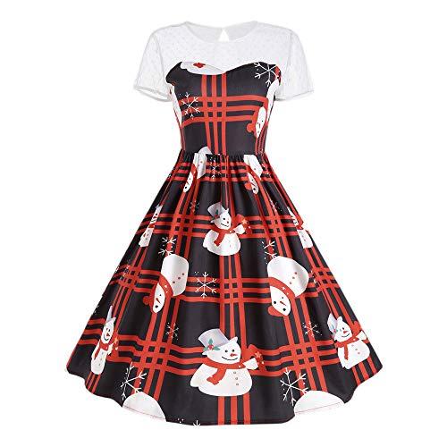 Yesmile Vintage Kleid Weihnachts Elegante Abend Prom Swing 1950S Retro Rockabilly Tupfen Kappen...