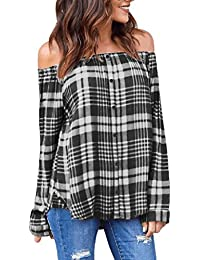 KaloryWee Women's Plaid Sexy Off Shoulder Long Sleeve Single-Breasted T-Shirt Tops Blouse