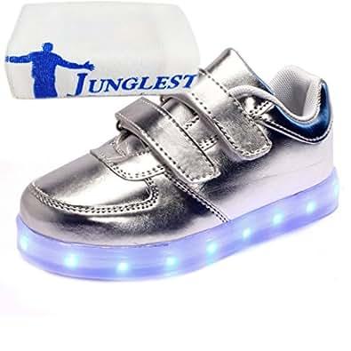 (Present:kleines Handtuch)Silber EU 37, Mädchen Junge Herbst Farbe Leuchtend Unisex Aufladen LED Paare 7 Schuhe Freizeitschuhe schuhe Winter Leucht JUNGLEST® Kindersc