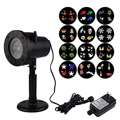 HOMZYY LED-Projektor Licht wasserdichte Gartenlampe Funkelnde Landschaft 12 Muster Gobos für die Beleuchtung auf Yard, Halloween, Weihnachten, Party etc Outdoor-Innendekoration