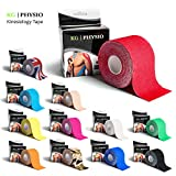 KG | PHYSIO Kinesiology Tape Red - Uncut Muscle Support Tape - 5cm x 5m roll - 12 colours available! Images are exact photos of our products for accurate colour representation (Red)