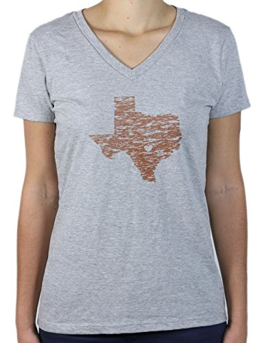 Nitro USA Texas Orange State with Heart V-Neck T-Shirt Soft Blend, Damen, grau, X-Large -