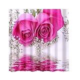 MagiDeal Multi-design Shower Curtain Waterproof Mildew Resistant with 12 Hooks - Pink Rose, 180cm