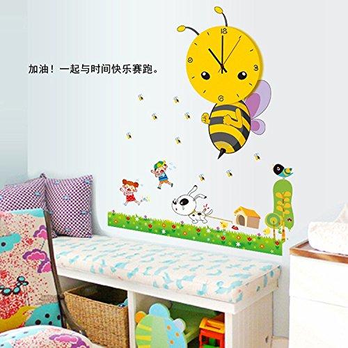 (Hongrun Kleine Biene - Kinder Zimmer Klassenzimmer utility dekorative Wanduhr stilvolle und schöne cartoon Wall Sticker 73 * 85 cm.)