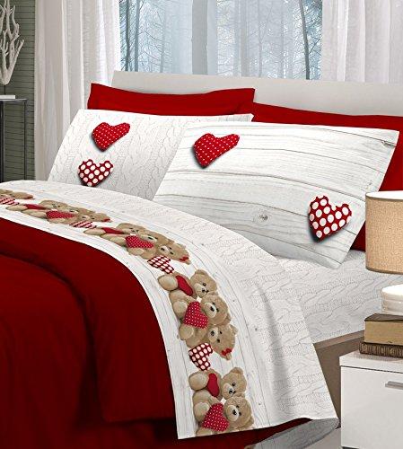 Centesimo web shop completo lenzuola letto di flanella caldo cotone in 3 misure prodotto in italia - fantasia shabby cuori pois orsetti - una piazza singole rosso rosse - piazza e mezza rosso