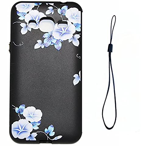 Linvei Samsung J3 2016 Case ,Soft Gel TPU Back Cover Silicone Cover Bumper with Vintage Flower Series Black Background Morning glory