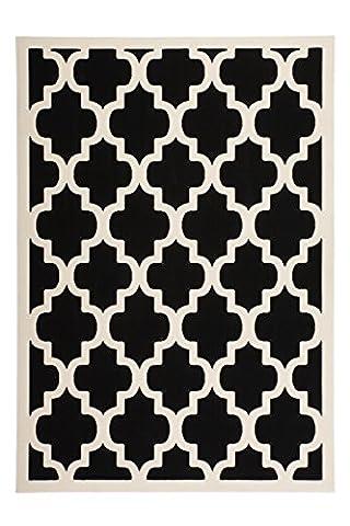 Moderner Designer Teppich Maroc 2087 Schwarz Schwarz 80cm x 150cm 100% Polypropylen