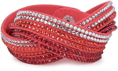 styleBREAKER weiches Strass Armband, eleganter Armschmuck mit Strassteinen, Wickelarmband, 6x1-Reihig, Damen 05040005, Farbe:Koralle / Dunkelrot-Rot-Klar