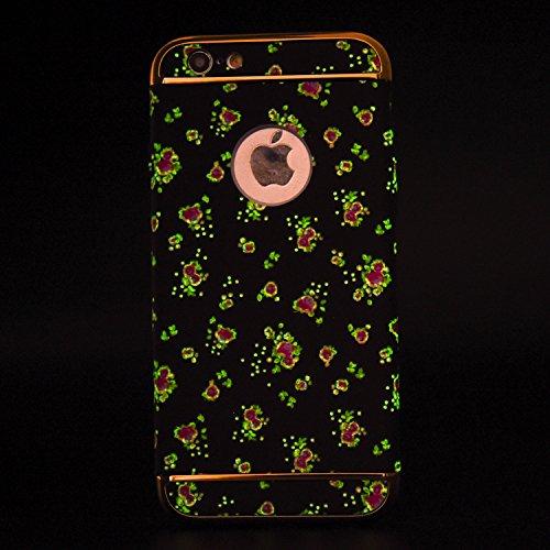 """Protecteur étui avec Détachable Plating Border pour Apple iPhone 6/6s 4.7"""", CLTPY Mode Beau Flower Impression Motif Nocturnes Lumineux Case en Dur Plastique, Ultra Fine Slim Bumper pour iPhone 6,iPhon Fleur Rouge"""