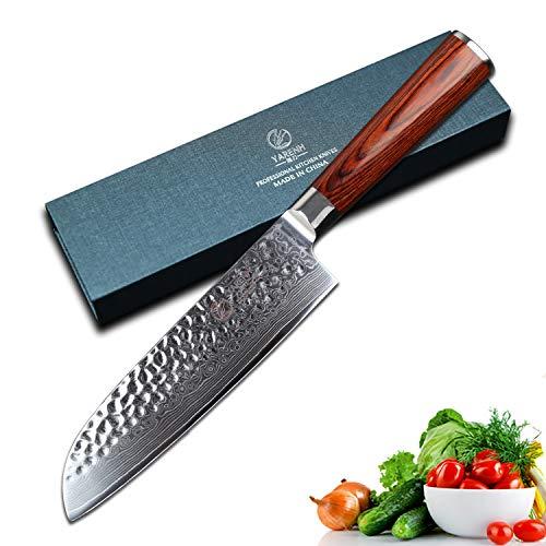 YARENH Japanisches Santoku-Messer 17 cm, Professionelles japanisches Damaskus-Stahl-Küchenmesser, Ultra-Scharfes Kochmesser, Küchenäxte der HYZ-Serie