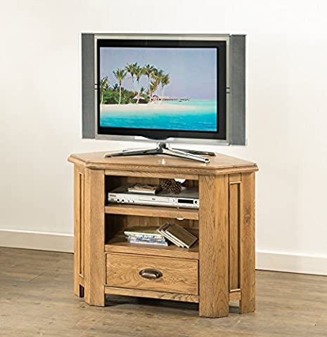 Hartfield Chunky Wood Rustic Oak Corner Widescreen LCD Plasma Cabinet Tv Stand Unit, Medium Oak Oiled Finish, H 65 x W 90 x D 45 cm