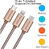 Phonokart 3 in 1 USB Cable - Charging Cable & Sync cable for all Apple/Type-C/Android USB devices (Gold)