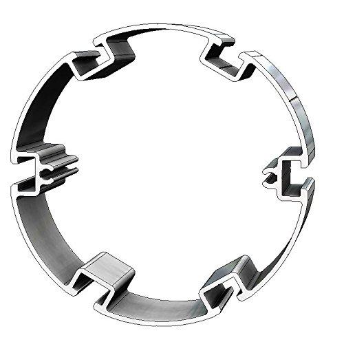 Aluminium T-Nuten Hohlkammerprofil PH125-6, rund, 5 Stangen, 3m/Stange