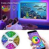 Strisce LED USB, retroilluminazione LED TV, con controllo da APP fino a 11,5 piedi (3,5 M) striscia LED RGB per TV da 40 pollici-60 pollici, sincronizzazione con musica, 5050 RGB per Android iOS