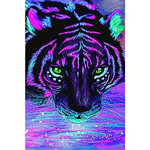 Rowentauk DIY 5D Diamond Painting by Number Kit,Jigsaw Puzzle for Adults Purple Tiger Crystal Rhinestone Embroidery Cross Stitch Arts Home Wall Decor Gift to Pregnant Women and Parent