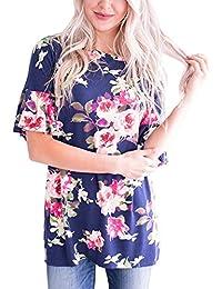 Kangrunmy Femmes T-Shirt Manches Courtes Fleurs Impression Col Rond Chemise  Mode Casual Tunique Chic Top Loose Chemisiers RéTro… 1a40f3e7b86