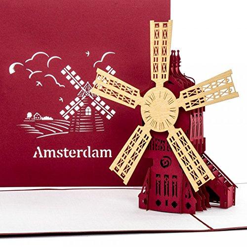 """Pop-Up Karte""""Amsterdam - Windmühle"""" - Amsterdamkarte, 3D Karte Windmühle, Hollandkarte, Reise Gutschein Holland & Amsterdam"""