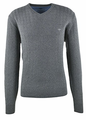 Argyle Pullover Mit V-ausschnitt (Fynch Hatton Pullover mit V-Ausschnitt Argyle iron, Größe:XXXL)