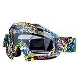 Leezo - Gafas de snowboard para mujer, protección UV 400, lentes resistentes al viento, gafas de motocross, patinaje, ajustables, para motocicleta, bicicleta, para niños y niñas, Graffiti Pattern + Transparent Lens