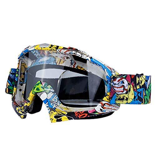 Leezo mascherina da snowboard per bambini e ragazzi, unisex, protezione UV400, antivento, regolabile, per motocross, skate, ciclismo, equitazione, Graffiti Pattern + Transparent Lens