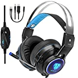 Butfulake PS4 Gaming Headset, 3.5mm Stereo Audio Kopfh�rer f�r PS4 Xbox One Switch PC Laptop Smartphone mit Mikrofon und LED-Licht, Schwarz-Blau Bild