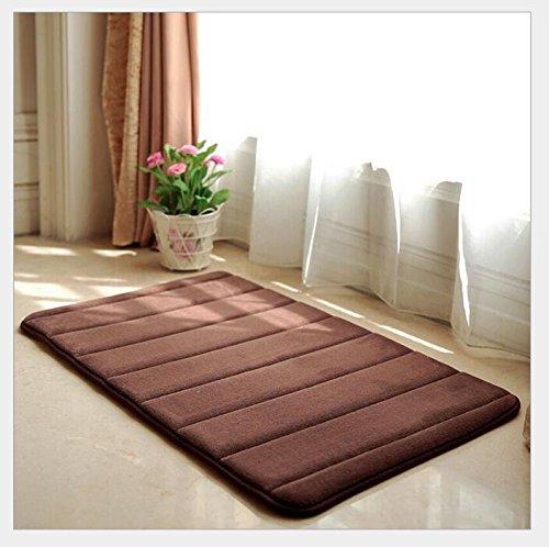 fu matte braun F-eshion Fußmatten Memory-Schaumstoff Baumwolle absorbierend Rutschfest für Küche und Badezimmer, braun, 40 x 60cm
