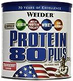 WEIDER Protein 80 Plus Eiweißpulver, Erdbeer, Low-Carb, Mehrkomponenten Casein Whey Mix für Proteinshakes, 750g