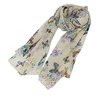 EJY Femme Beige en Mousseline de Soie Papillon Imprimer Foulards Wraps Châle de Plage Taille 150*40cm