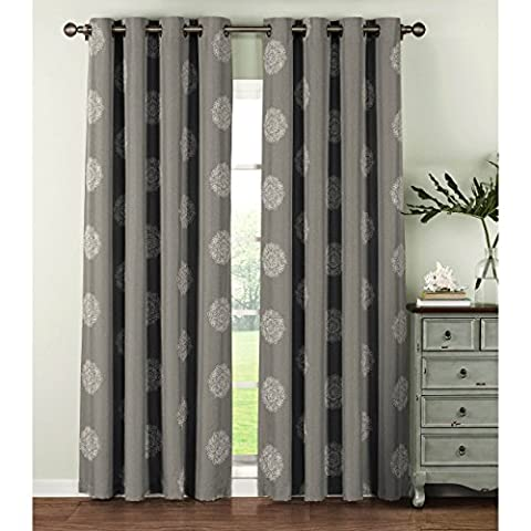 Window Elements Venice Embroidered Faux Linen Extra Wide 108 x