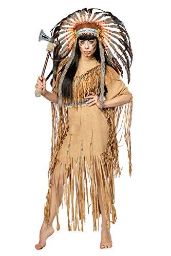 Damen Indianer Kostüm Verkleidung mit Federn und Fransen mit Kleid, Kopfschmuck, Tomahawk, in Veloursleder Optik ()
