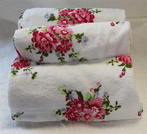 Homescapes 100{839e569cc3224d9fb863a9ec9d87b04523b34faee5a499e482c8e366408ddea2} Baumwolle Frottee Handtuch Set weiß 3tlg mit Vintage Blumen Print und gestickter Bordüre